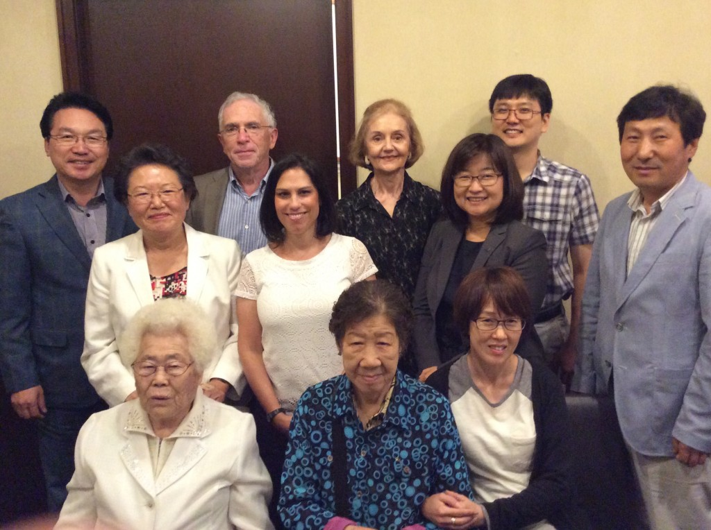 "Two Korean ""Comfort Women"" and the sponsors of their U.S. trip are pictured, along with 4 members of the Reproductive Justice Task Force, Drs. Yangnim and Larry Kurz, Tara McNamara and Sandra Ekberg."