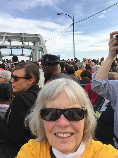 Approaching the bridge: Rev. Lissa Gundlach in the background, and Mary Geissman