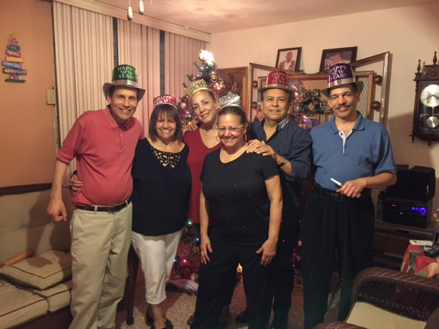 John Liebmann and Millie Santiago-Liebmann with her sister and friends celebrate New Year's 2016.